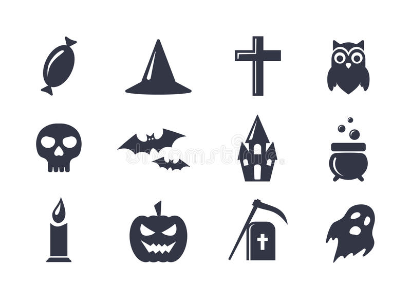 Simple vector icons set for Halloween vector illustration