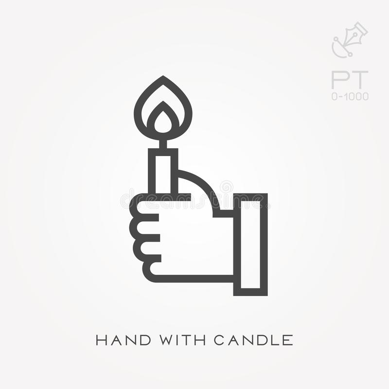 Simple vector illustration with ability to change. Hand with candle vector illustration