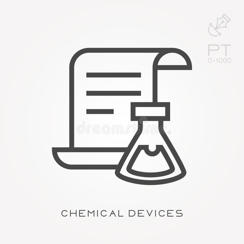 Simple vector illustration with ability to change. Line icon chemical devices. Line icon chemical devices. Simple vector illustration with ability to change royalty free illustration