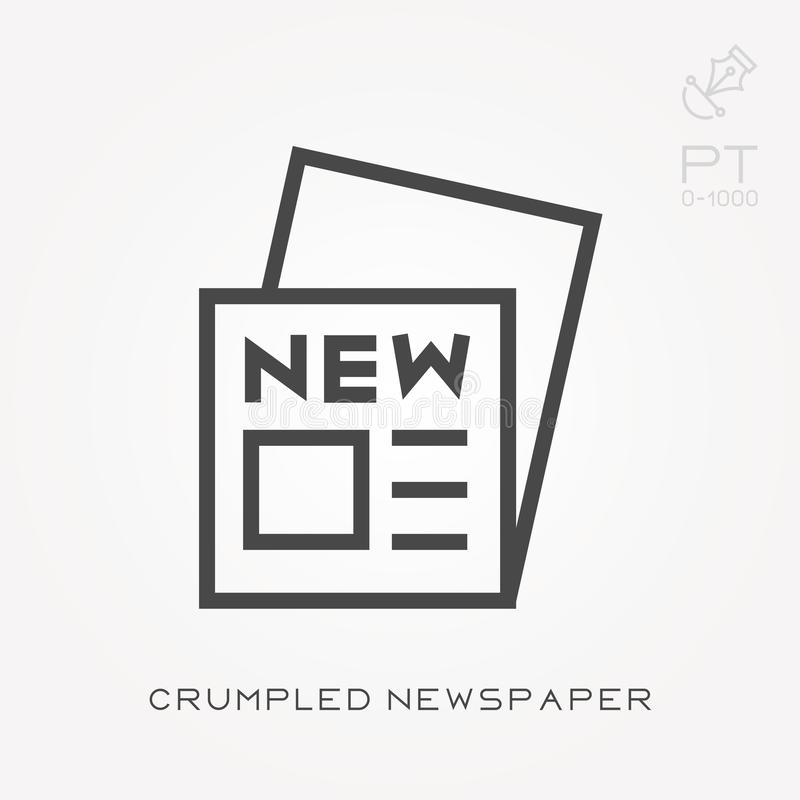 Simple vector illustration with ability to change. Line icon crumpled newspaper stock illustration