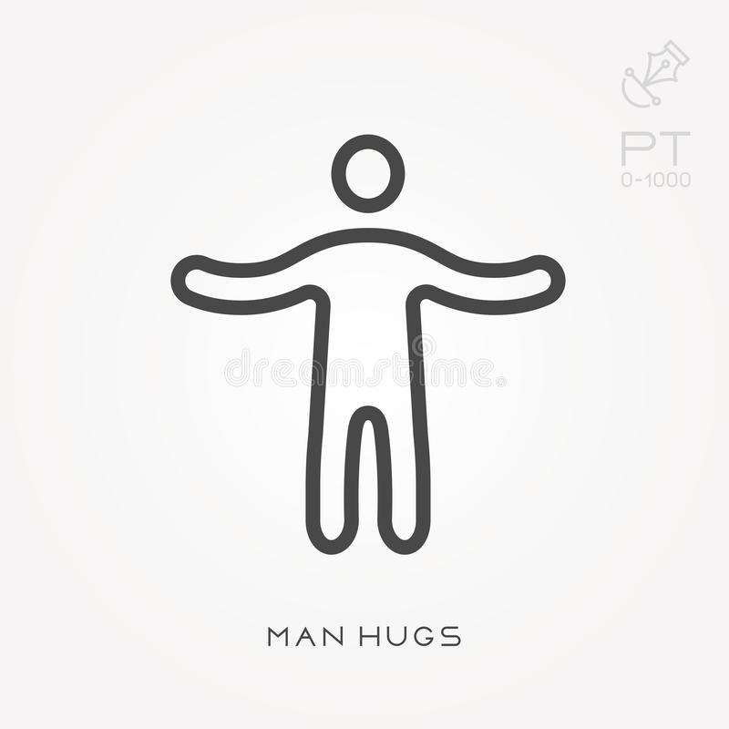 Simple vector illustration with ability to change. Line icon man hugs vector illustration