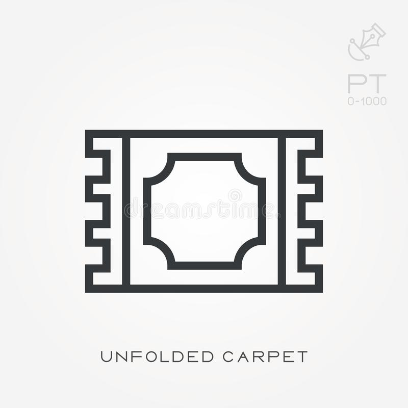 Simple vector illustration with ability to change. Line icon unfolded carpet stock illustration