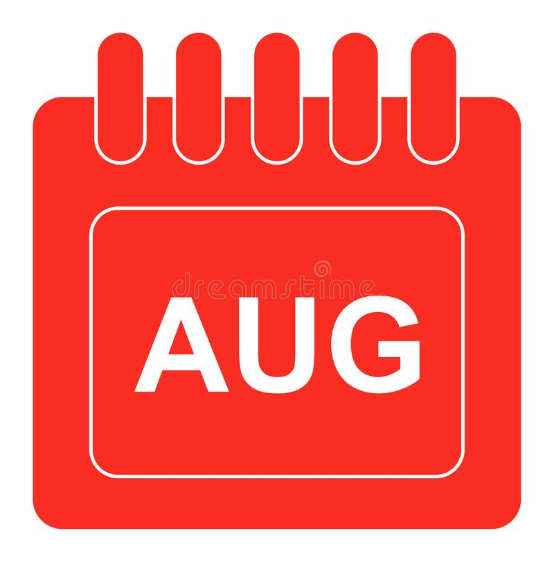 Vector august on monthly calendar red icon royalty free illustration