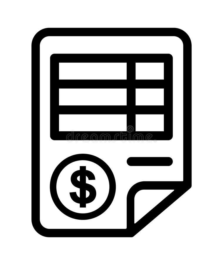 Bill icon. Simple vector illustration of black and white bill icon with dollar sign on white background stock illustration