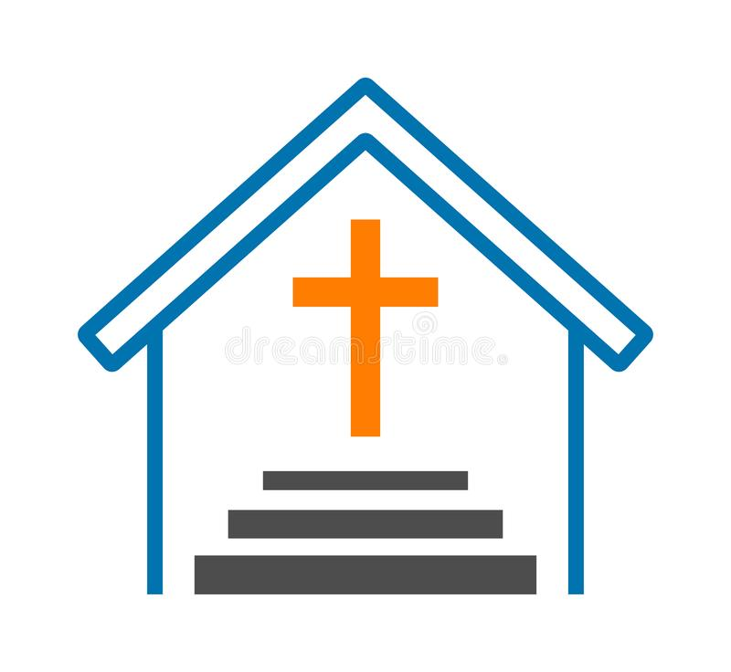 Church cross logo stock illustration