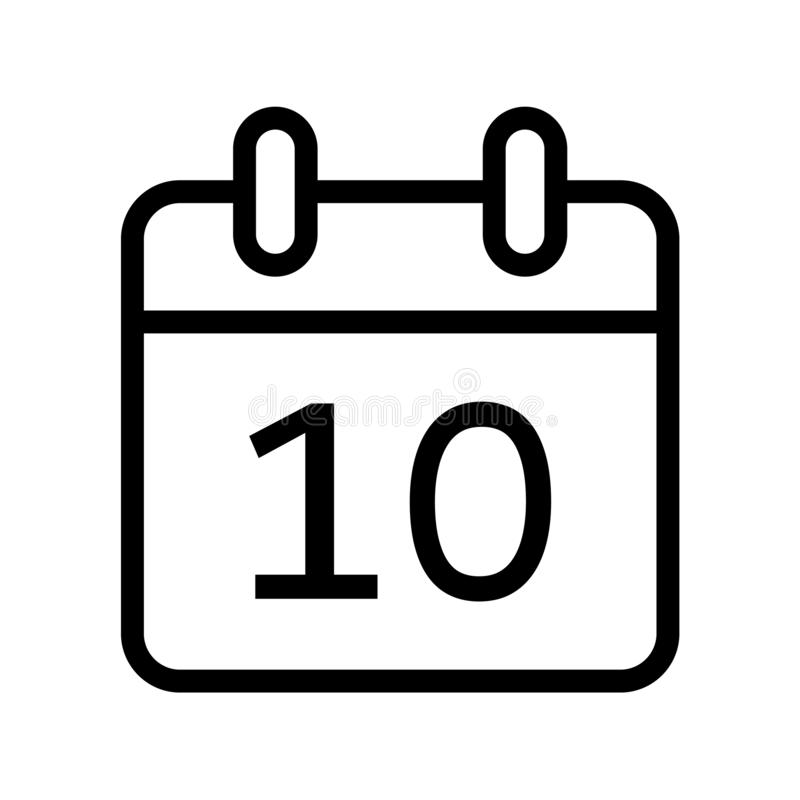 Calendar day ten date icon. Simple vector illustration of month calendar day ten date icon on white background royalty free illustration