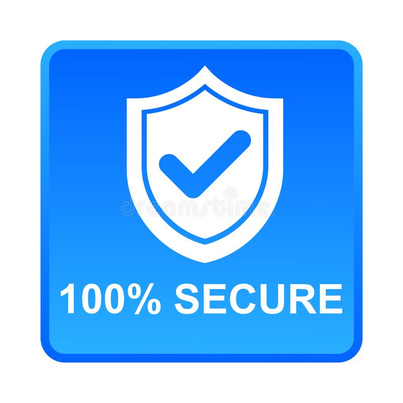 100% secure button royalty free illustration