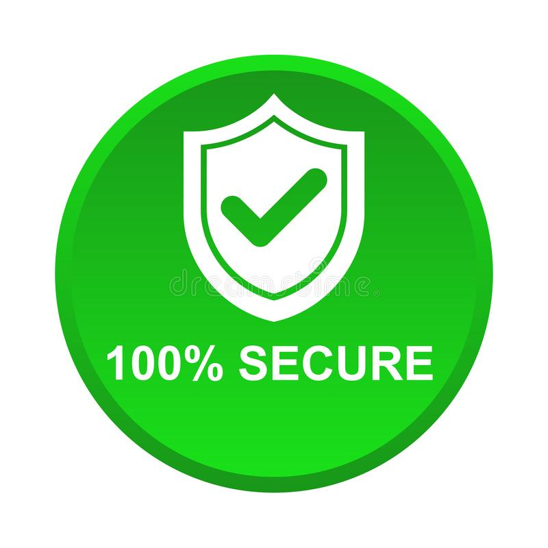 100% secure button vector illustration