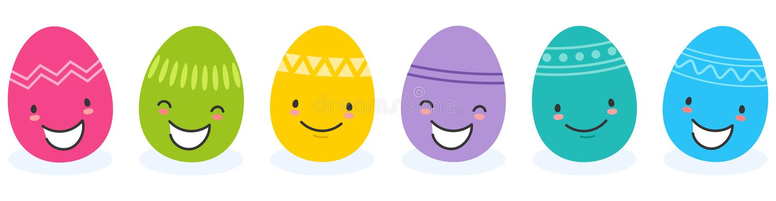 Simple vector illustration of six colorful flat design easter eggs, cartoon characters with funny faces. Isolated on white background royalty free illustration