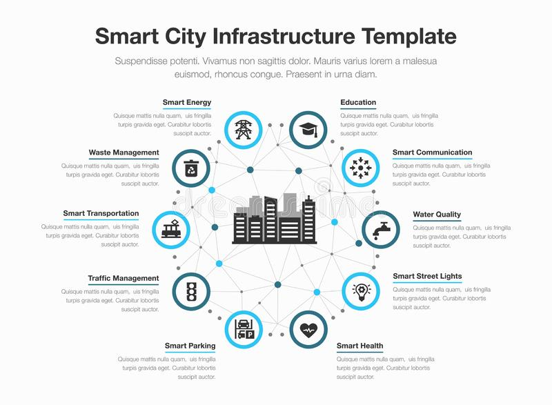 Simple vector infographic for smart city infrastructure with icons and place for your content stock illustration