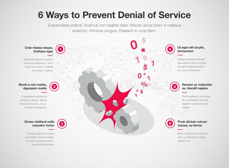 Simple Vector infographic for 6 way to prevent denial of services dos. With broken gears as a main symbol. Easy to use for your website or presentation stock illustration