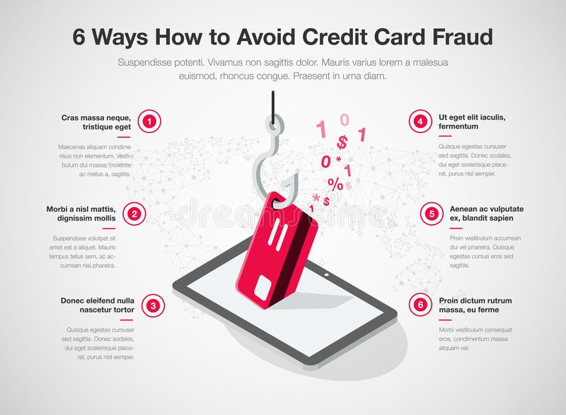 Simple Vector infographic for 6 ways how to avoid credit card fraud template. Isolated on light background. Easy to use for your website or presentation stock illustration