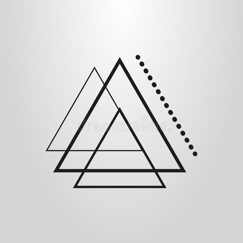 Simple vector line art abstract geometric triangles icon vector illustration