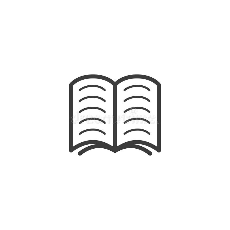 Simple vector line art outline icon of the open book vector illustration