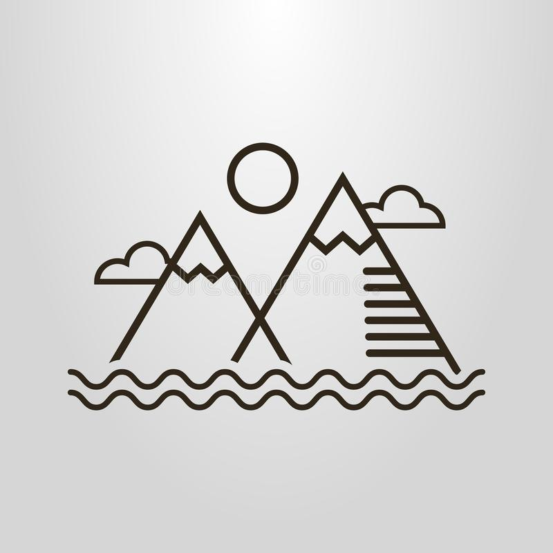 Simple vector line art pictogram of simple landscape with mountains, water waves, clouds and sun. Black and white simple vector line art pictogram of simple stock illustration