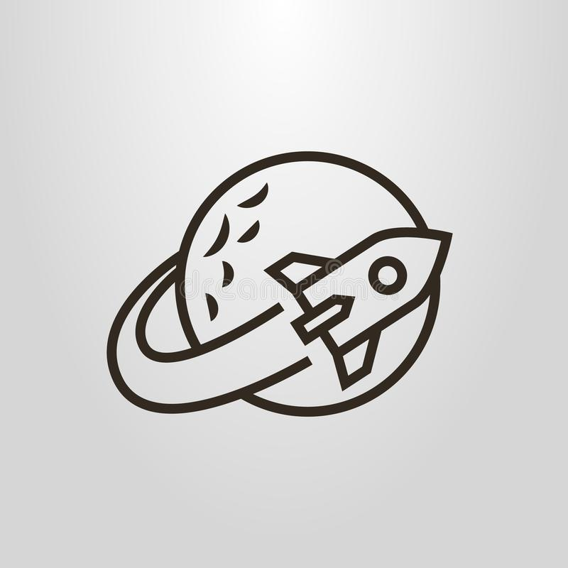 Simple vector line art pictogram of a space rocket flying around the planet royalty free illustration