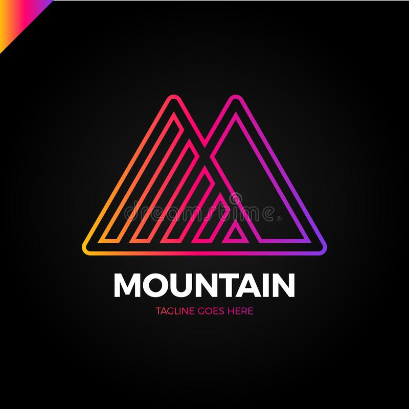 Simple vector logo in a modern style. Top of the mountain in the form of letter M. royalty free illustration