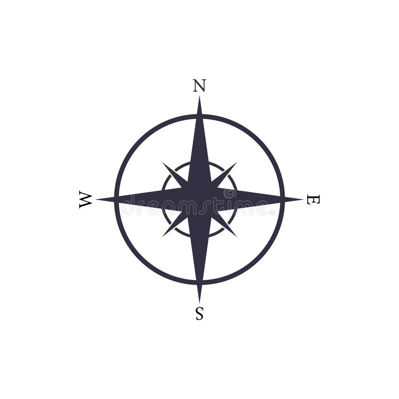 Simple vector nautical compas icon. Navigation map sign.  stock illustration