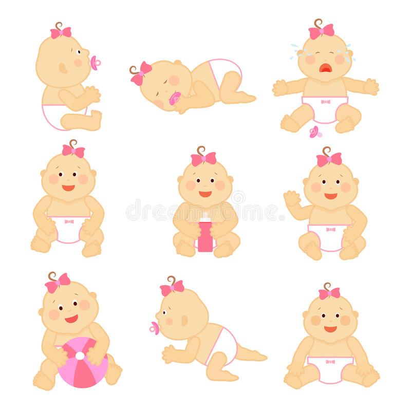 Simple vector newborn baby or toddler illustration on white background. Toddler baby girl, infant baby with pink bow stock illustration