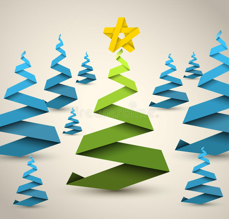 Simple Vector Paper Christmas Trees Royalty Free Stock Photos