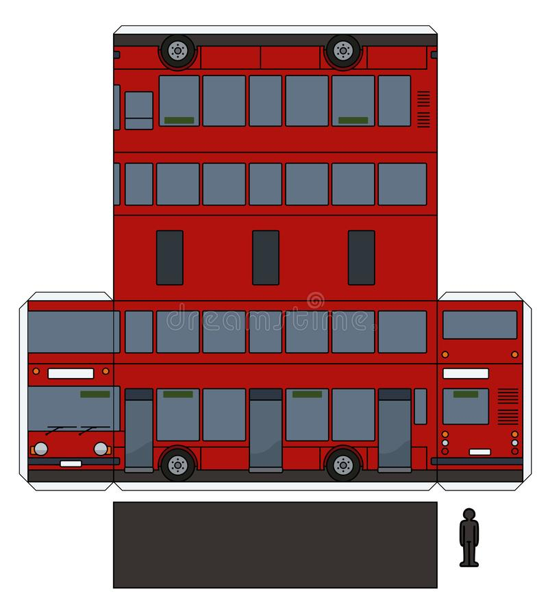 The paper model of a red double decker. The simple vector paper model of a classic red double decker bus vector illustration