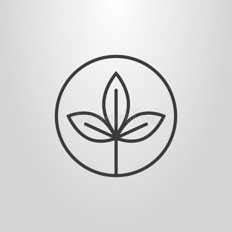 Free Simple Vector Pictogram Of An Twig With Three Leafs In A Round Frame Royalty Free Stock Images - 119304599