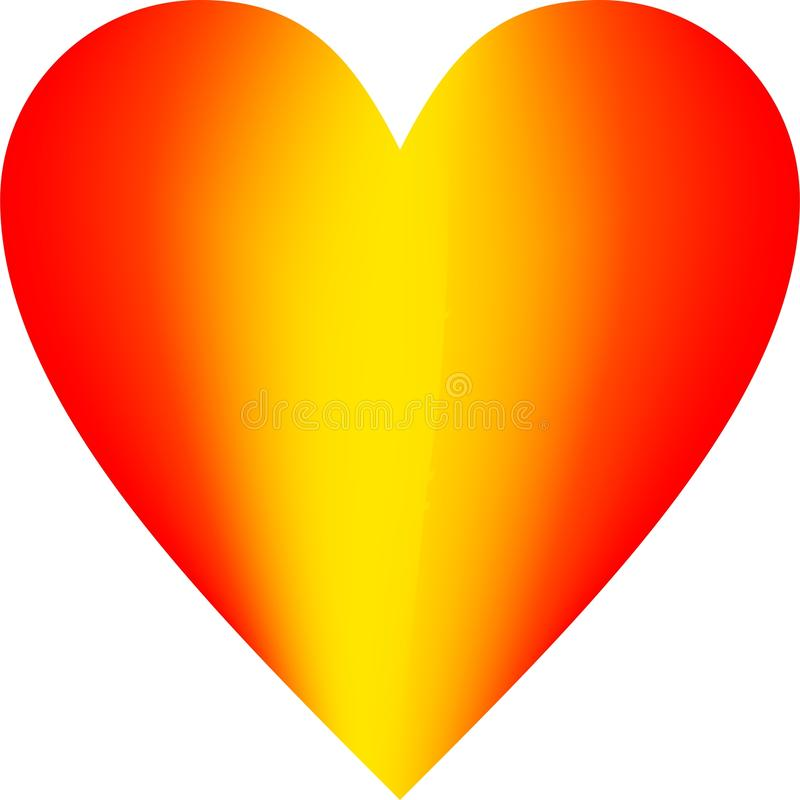 Red and yellow Clipart Heart vector royalty free illustration
