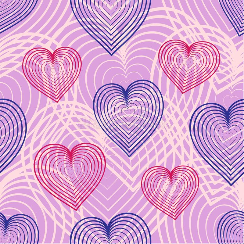 Simple vector seamless background with linear hearts. royalty free illustration