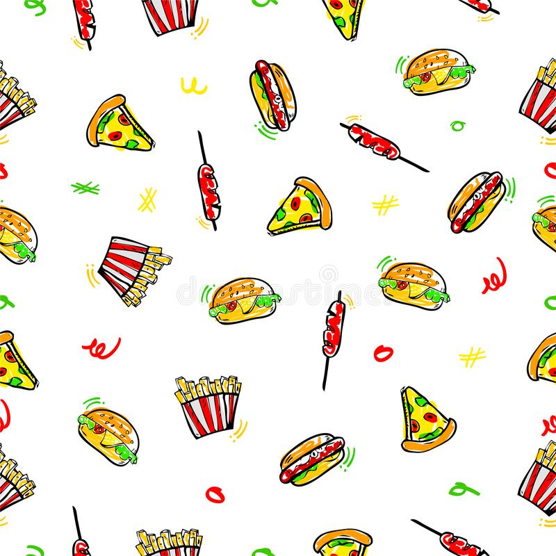 Simple vector seamless pattern hand draw sketch, Burger, Hotdog, Sausage, French Fries and Pizza for wrapping paper, background,. Vector seamless pattern hand vector illustration