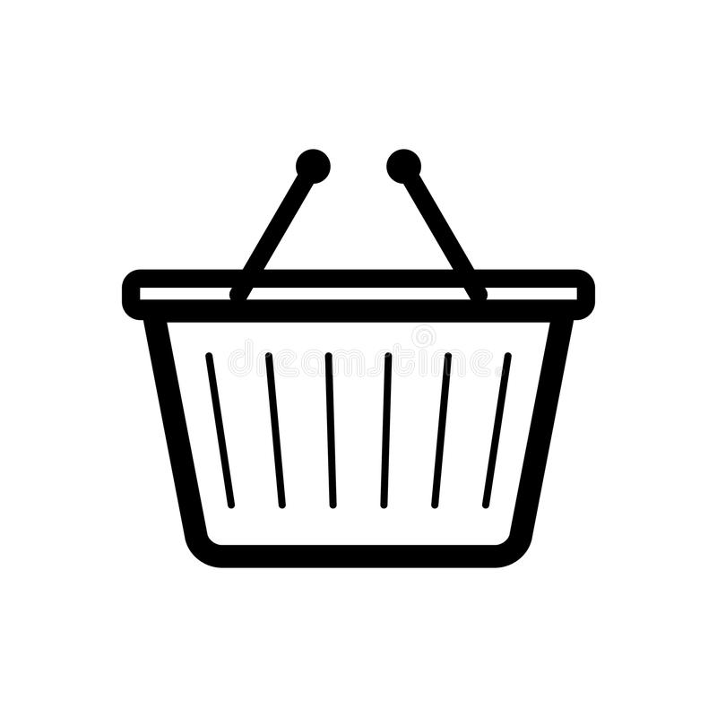 Shopping basket modern vector drawing draft flat. A simple vector shopping cart design for the shopping industry or web sites stock illustration