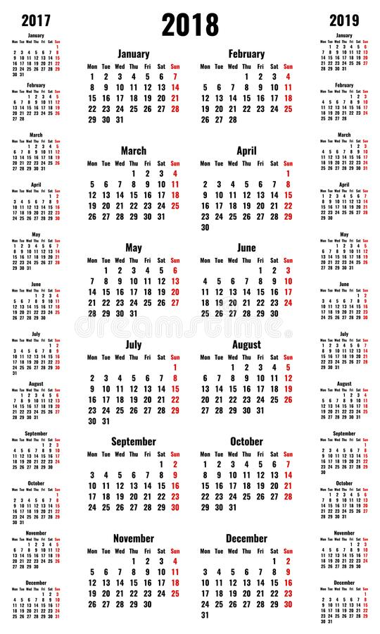 Simple vertical vector calendars for 2018 and 2017 2019 years royalty free illustration