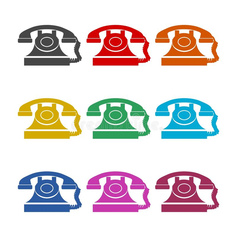 Simple Vintage Telephone Isolated icon, color set. On white vector illustration