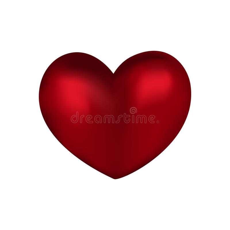 Simple volume red heart on a white background. Simple volumetric red heart on a white background isolate royalty free illustration