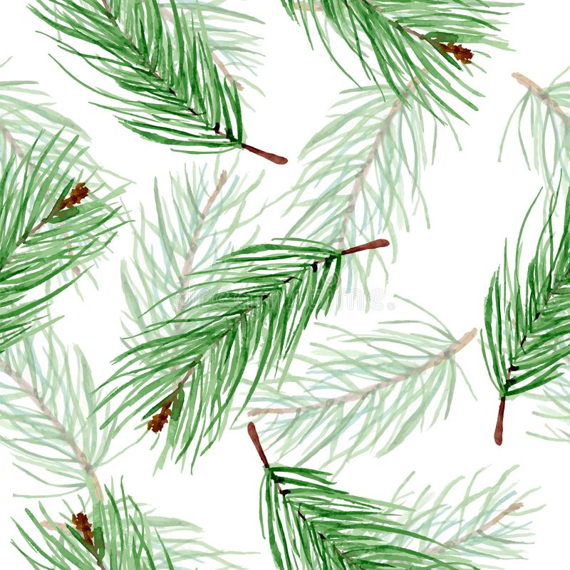 Simple watercolor winter pattern of green fir branches on a white background. Christmas hand drawn endless backdrop royalty free illustration