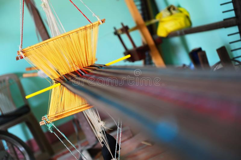 Simple weaving looms of craft village in Vietnam royalty free stock image