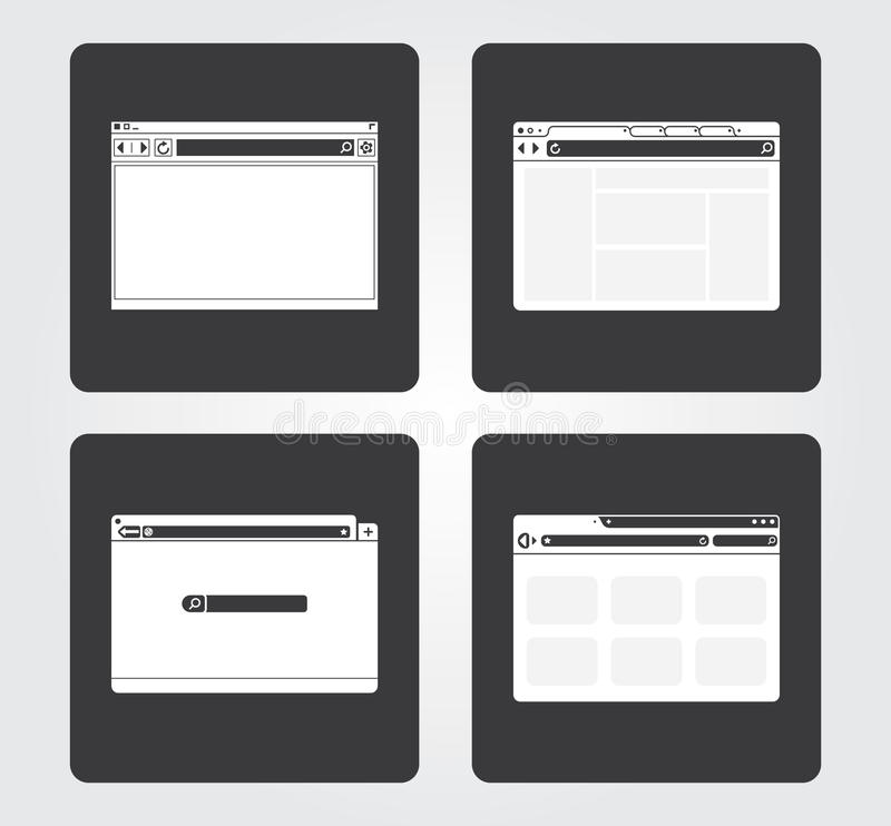 Simple Web Icons: browser. Simple illustration of internet browsers stock illustration