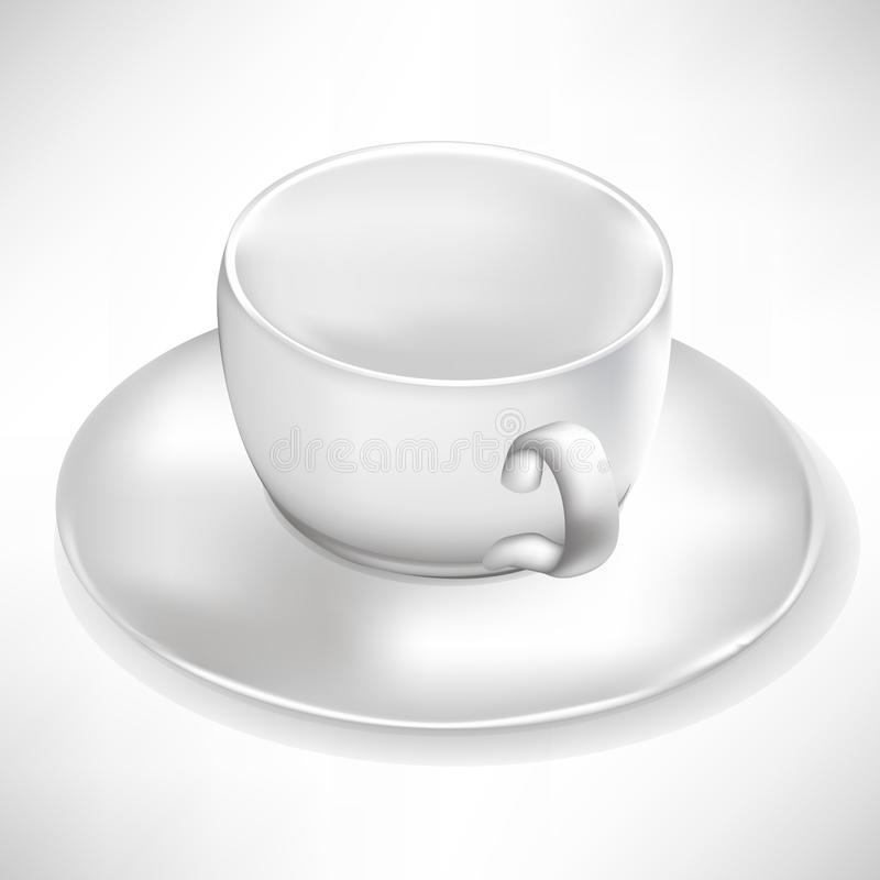 Simple white cup with plate vector illustration