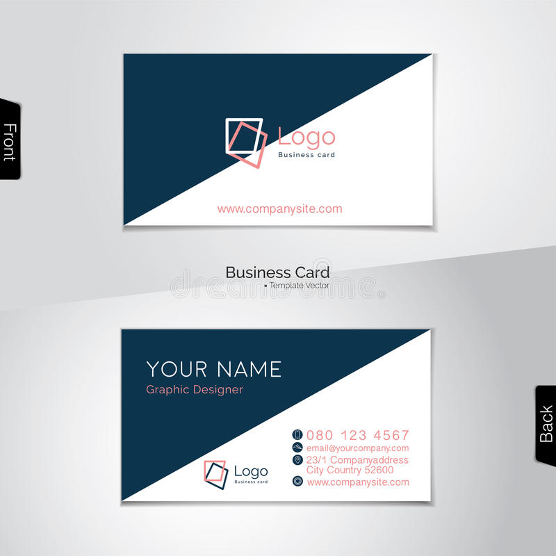 Simple white and dark blue business card - vector template royalty free illustration