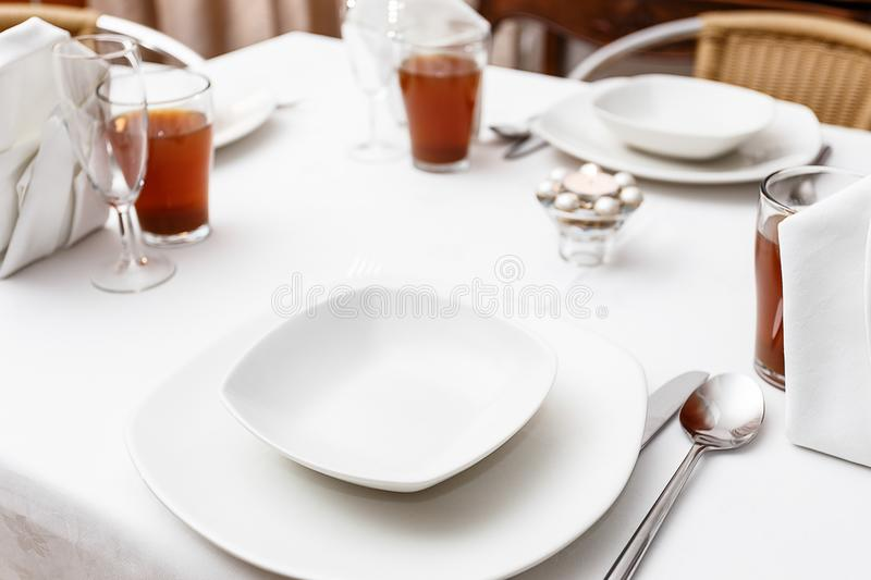 Download Simple White Formal Table Setting Stock Photo - Image of hospitality utensils 100555398 & Simple White Formal Table Setting Stock Photo - Image of hospitality ...