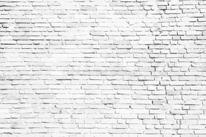White brick wall background. Simple white and grey brick wall as seamless surface pattern texture background. Vector illustration. Simple white and grey brick royalty free illustration