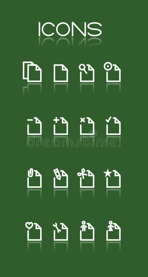 Simple white icons. On green background vector illustration