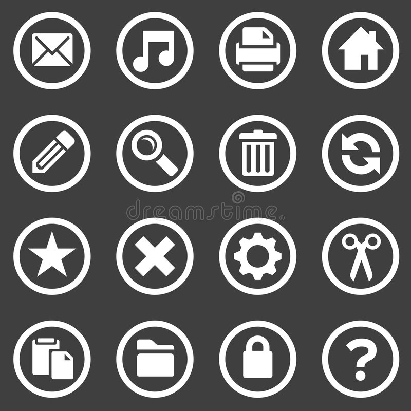 Simple white icons royalty free illustration