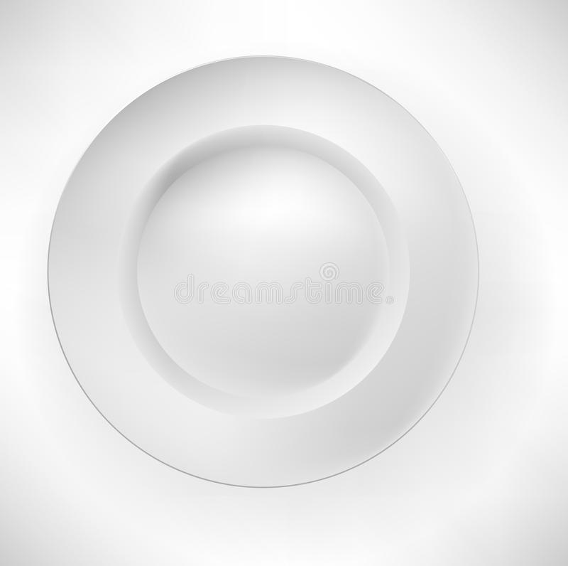 Simple white plate i vector illustration