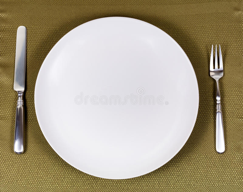 Download Simple White Plate With Silverware For Dinner Setting On Table C Stock Photo - Image & Simple White Plate With Silverware For Dinner Setting On Table C ...