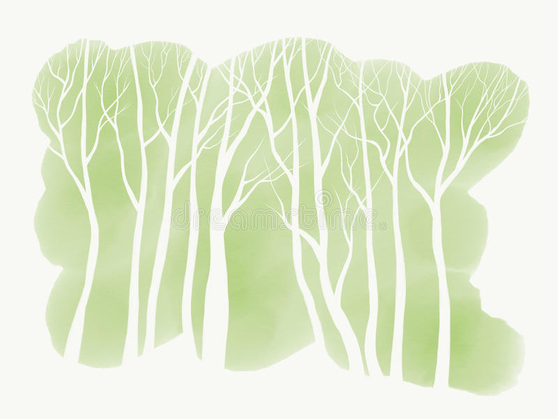 Simple White Trees. A free-hand, digital drawing featuring simple white trees over a green, watercolour-wash background. Colour palette: White & green. Medium stock illustration