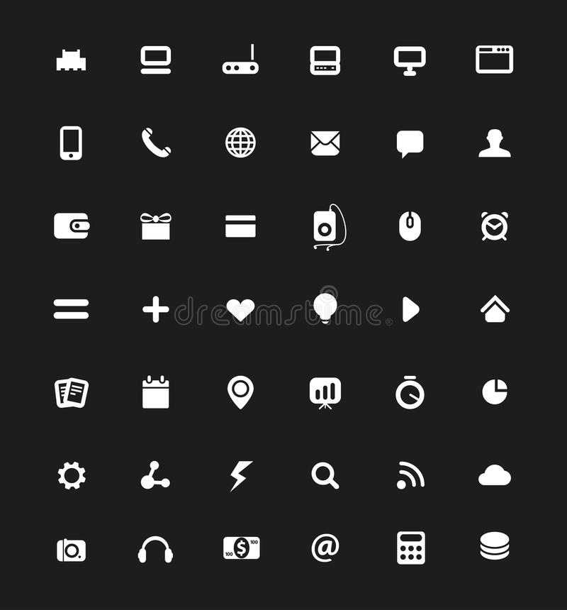Simple White Web Navigation Pictograms Stock Images