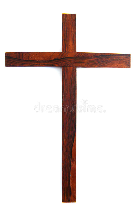 Simple wooden cross. Simple wooden Christian cross isolated over white stock image