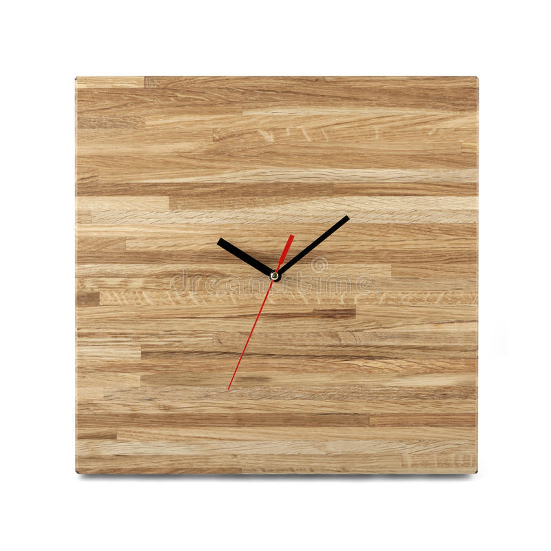 Simple wooden wall watch - Square clock isolated on white backgr. Ound stock photo