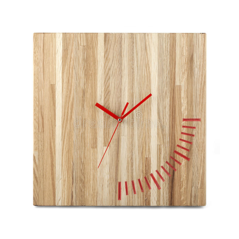 Simple wooden wall watch - Square clock isolated royalty free stock image
