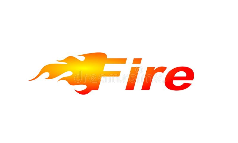 The word Fire. Simple the word Fire, illustrated fire logo design of red yellow flame isolated on a white background vector illustration